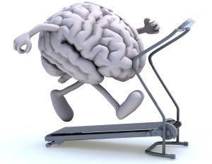 brain 300x232 human brain with arms and legs on a running machine, 3d illustration